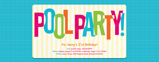 Pool Party Brights Invitation