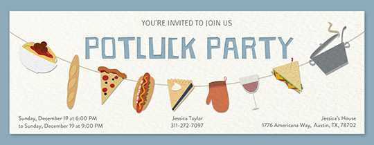 Potluck Party Items Invitation