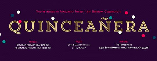 Quinceañera Confetti Invitation
