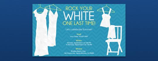Rock Your White Invitation