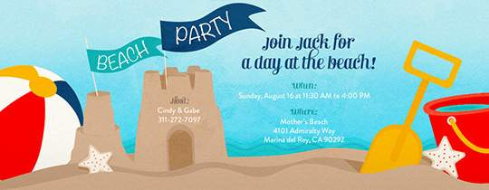 Sandcastle Invitation