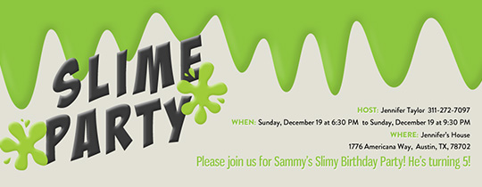 Slime Party Invitation