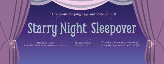 Starry Sleepover Invitation
