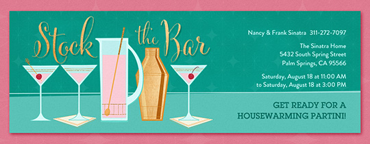 Stock the Bar Pink Martini Invitation
