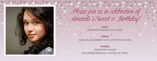 Sweet 16 Pink Glitter Invitation