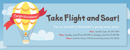 Take Flight Balloon Invitation